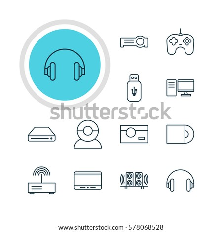 Vector Illustration Of 12 Technology Icons. Editable Pack Of Memory Storage, Photography, Usb Card And Other Elements.