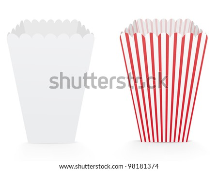 Popcorn box template download free vector art stock graphics vector illustration of template cardboard popcorn cups pronofoot35fo Image collections