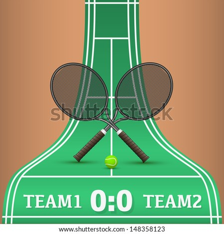 Vector illustration of tennis racket and ball on court