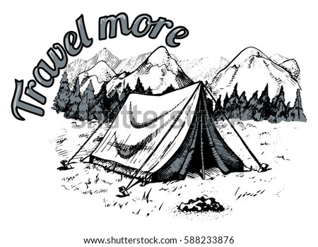 vector illustration of tent in...
