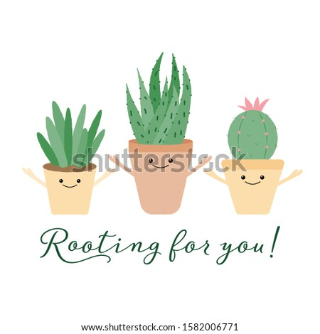 Vector illustration of 3 textured cacti with cute faces and typography. Rooting for you. Funny houseplant concept. Foto stock ©