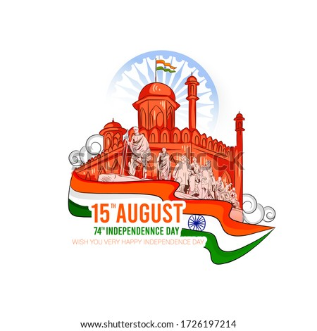 vector illustration of 15th August Happy Independence day India, freedom day of India,