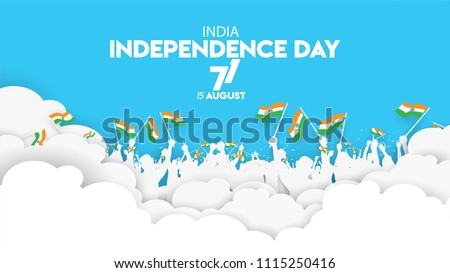 vector illustration of 15th August india Happy Independence Day. 71 years of Freedom indian society