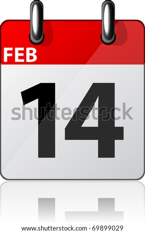 Vector illustration of 14'th february date.
