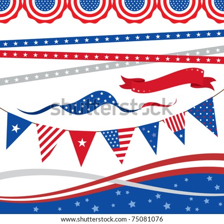 "Vector illustration of ""4th of July"" borders and graphic elements."