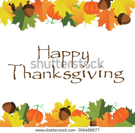 vector illustration of thanksgiving fall background with leaves, pumpkins, acorns