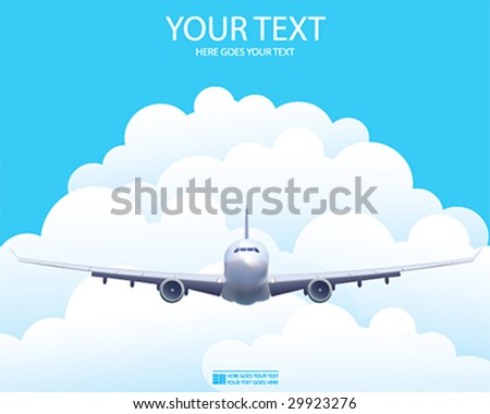 Vector illustration of the aircraft in the sky - stock vector