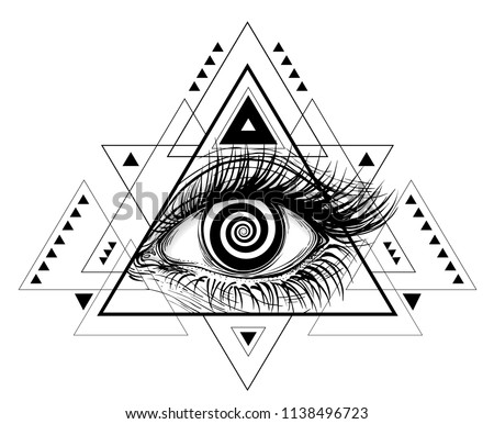 Vector illustration of the all-seeing eye. The symbol of the Masons in a modern triangle shapes design like modern tattoos.