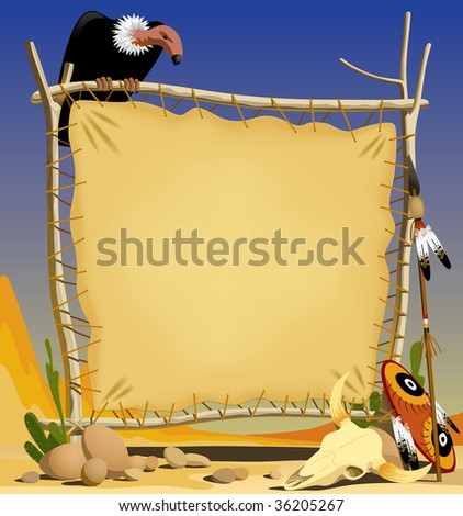 Vector illustration of the animal skin banner with indian objects - stock vector