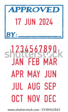 Vector illustration of the Approved stamp and editable dates (day, month and year) in ink stamps Foto stock ©