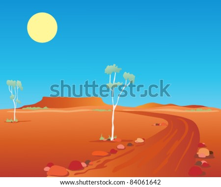 vector illustration of the australian outback with gum trees and a dirt road running through the desert towards distant mountains in eps 10 format