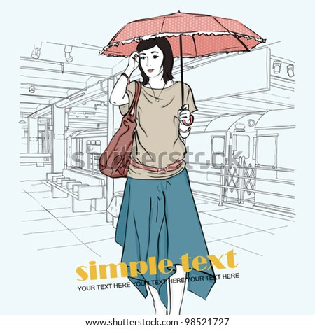 Vector illustration of the autumnal girl at  subway station . Place for your text.