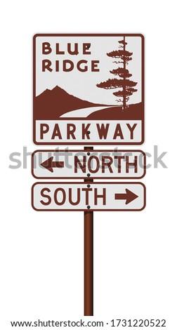 Vector illustration of the Blue Ridge Parkway road sign on metallic pole Stock photo ©