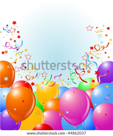 Vector illustration of the border of multicolored balloons