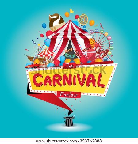 Vector illustration of the carnival funfair design.