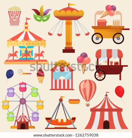 Vector illustration of the carnival funfair design elements