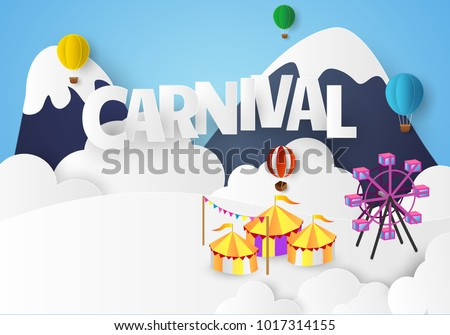 Vector illustration of the carnival funfair Paper cut design.