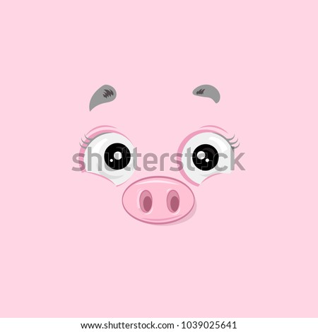 Vector illustration of the cheeful happy pig face on pink background.