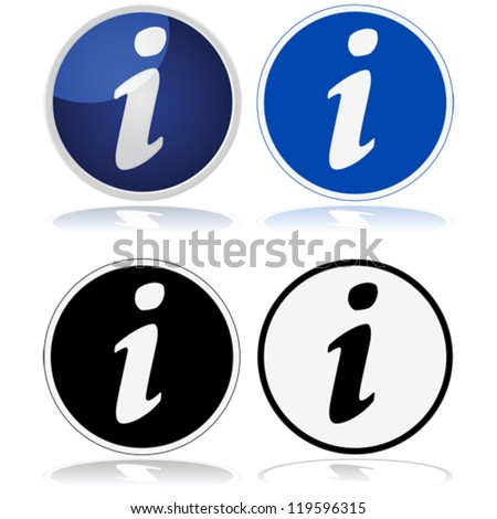 Vector illustration of the classic information sign with a circle and a lower-case