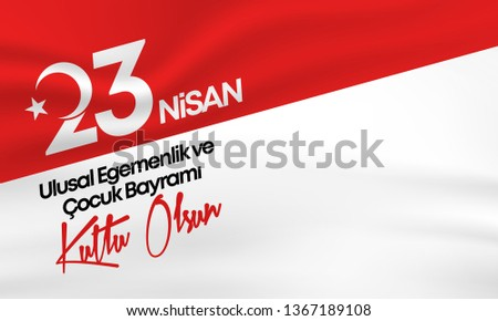 vector illustration of the cocuk bayrami 23 nisan , translation: Turkish April 23 National Sovereignty and Children's Day, graphic design to the Turkish holiday, kids icon, children logo. - Vector