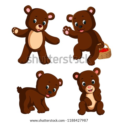 stock-vector-vector-illustration-of-the-collection-of-the-little-bear-carry-the-basket-of-apple