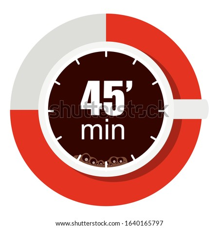 Vector illustration of the concept of coffee break time. a cup of coffee to fill small breaks when working or meeting. Hour symbol of 45 minutes. Company culture