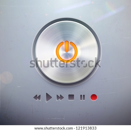 Vector illustration of the detailed round power button for media player �¢??  buttons in metallic style. Good for your websites, blogs or applications. - stock vector