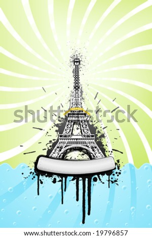 Vector illustration of the Eiffel tower in paris with ink splatter grunge explosions, stylish sea with bubbles and spiral sky. Metal board with bolts for custom design.