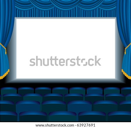 vector illustration of the empty blue cinema with free bottom layer for your image
