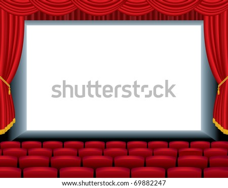 vector illustration of the empty cinema with free bottom layer for your image