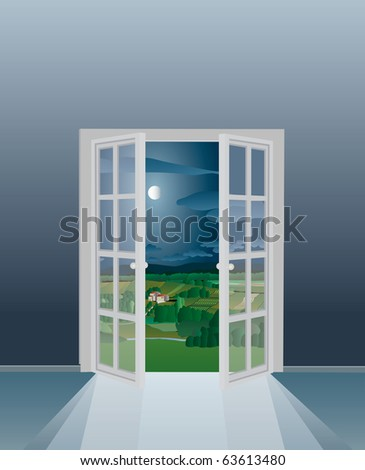 vector illustration of the empty room with opened french window, eps-10 file