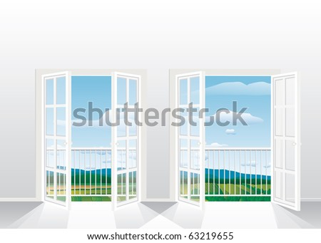 vector illustration of the empty room with two opened french windows, eps-10 file