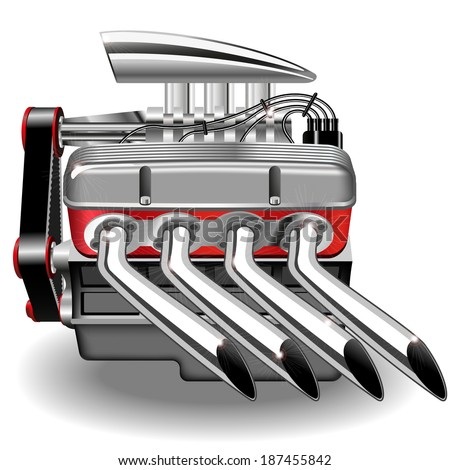 Vector illustration of the engine. Gradient mash.