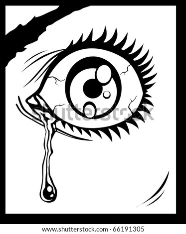 Vector illustration of the eye with a tear