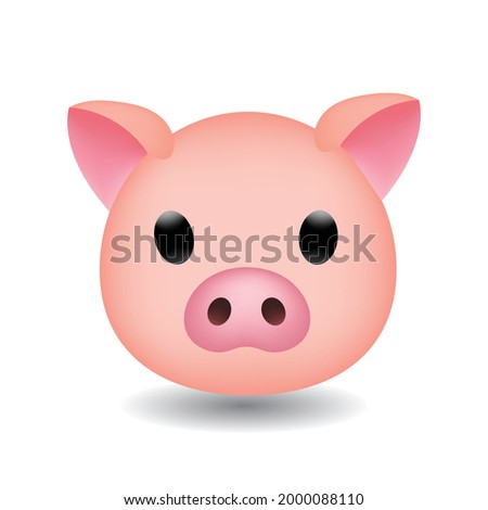 Vector illustration of the face of a pig cartoon. Pig head emoji isolated on white background. Pig Face Vector Flat Icon.