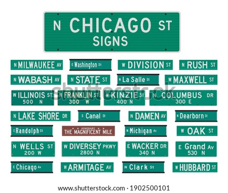 Vector illustration of the famous Chicago streets and avenues road signs Stock photo ©