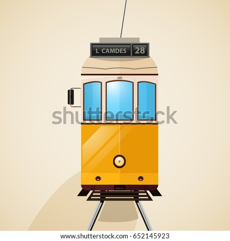 Vector illustration of the famous vintage yellow 28 tram in Lisbon, Portugal. Transport icon.