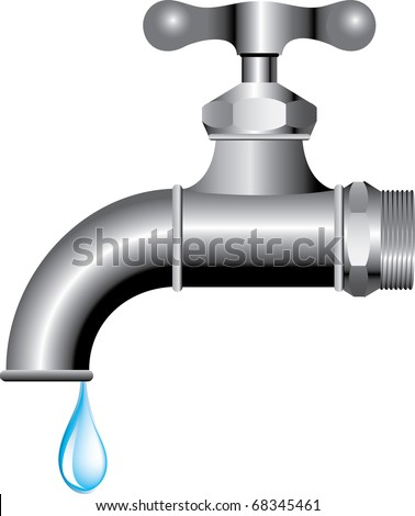 vector illustration of the faucet with water drop