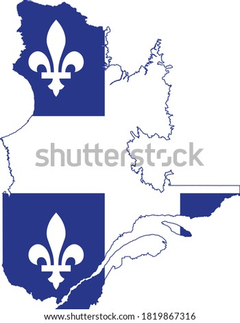 Vector Illustration of the Flag Map of Canadian Province of Quebec