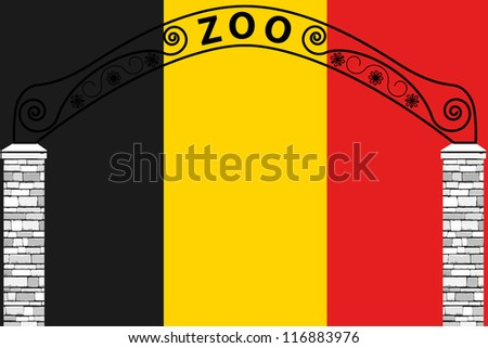 Vector Illustration of the flag of Belgium with a zoo entrance