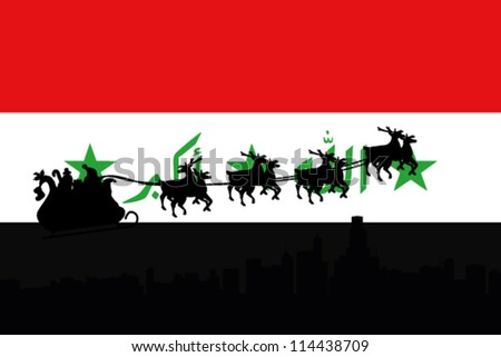Vector Illustration of the flag of Iraq with santa flying his sliegh over a city