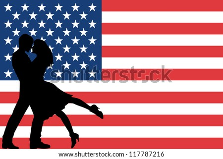 Vector illustration of the flag of the United States of America silhouette of a couple in love