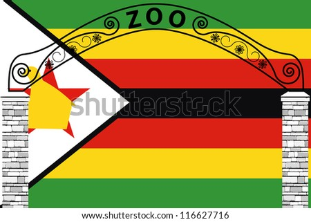 Vector Illustration of the flag of Zimbabwe with a zoo entrance