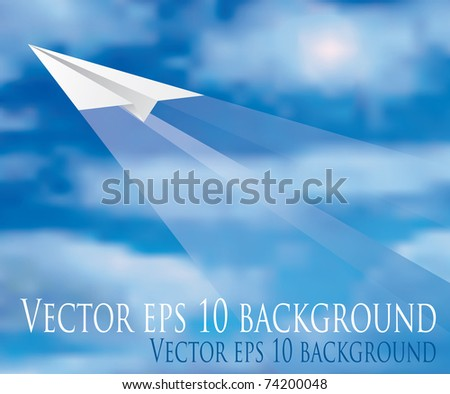 vector illustration of the flying paper plane
