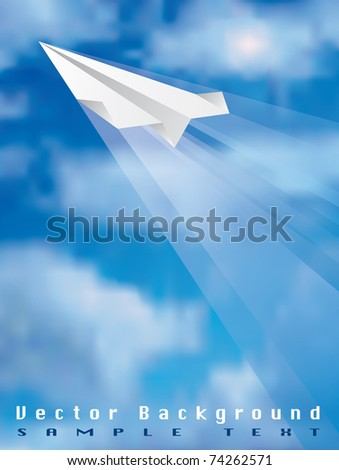 vector illustration of the flying paper plane, eps 10 file