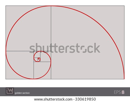 Vector illustration of the golden section (golden ratio), the most  important proportion in