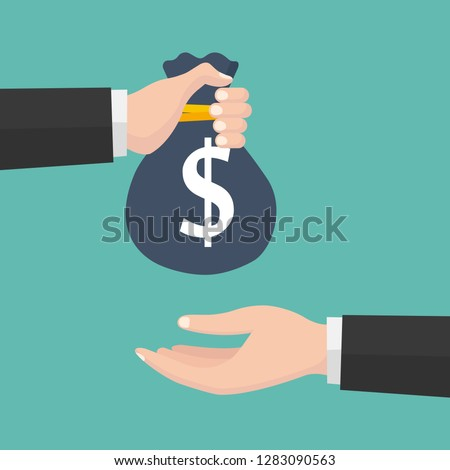 Vector illustration of the hand giving bag with money to a businessman. Flat design.