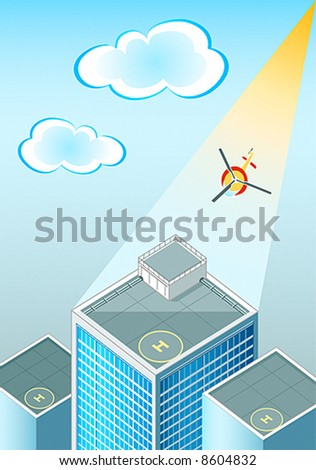 vector illustration of the helipads at the skyscraper's rooftop