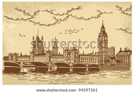 Vector illustration of the Houses of Parliament, seen across Westminster Bridge