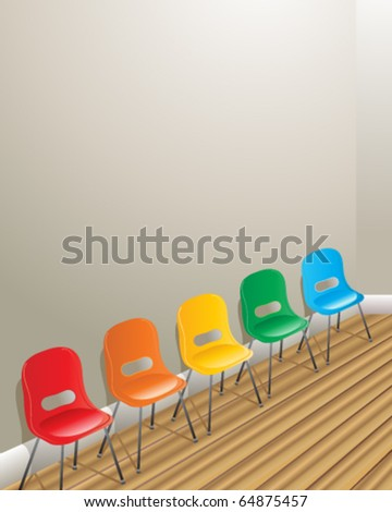 vector illustration of the interior of a waiting room with gray walls and five colorful plastic chairs on wooden floorboards in eps10 format